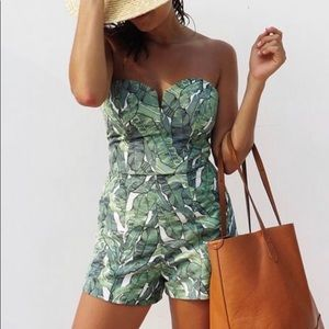 NEW H&M Palm Leaves Strapless Romper
